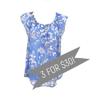 LC Lauren Conrad Sheer Blue Floral Top Size Small